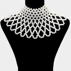 White Pearl Armor Bib Choker Necklace